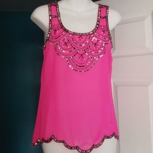 Charlotte Russe neon pink top w/ sequence Small